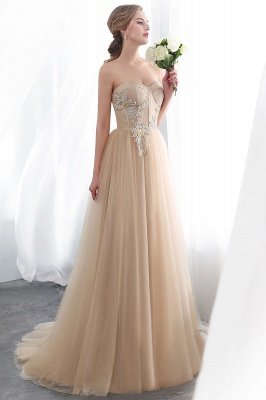 NATHALIE | A-line Strapless Sweetheart Floor Length Appliques Champagne Evening Dresses_7