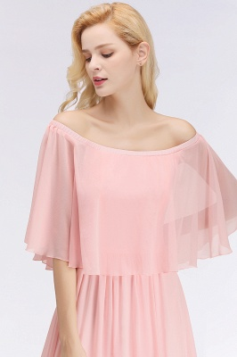 NOAH   A-line Long Off-the-shoulder Pink Bridesmaid Dresses with Sleeves_6