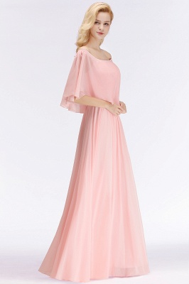 NOAH   A-line Long Off-the-shoulder Pink Bridesmaid Dresses with Sleeves_2