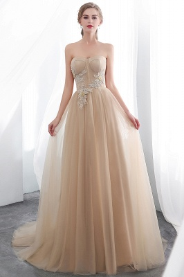 NATHALIE | A-line Strapless Sweetheart Floor Length Appliques Champagne Evening Dresses_4