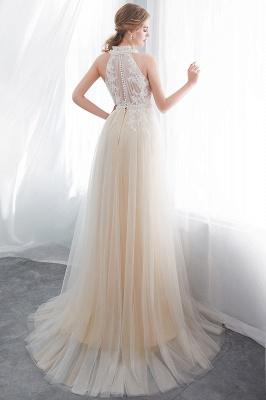 NATALIA | A-line Halter Floor Length Appliqued Tulle Evening Dresses_3