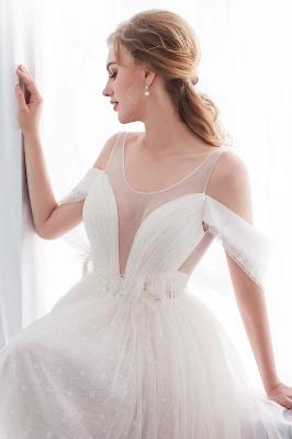 Elegant A-Line Sleeveless Floor Length Ivory Wedding Dresses Cheap_11