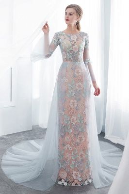 NAOMI | Sheath Long Sleeves Sheer Neckline Appliqued Flowers Evening Dresses_6