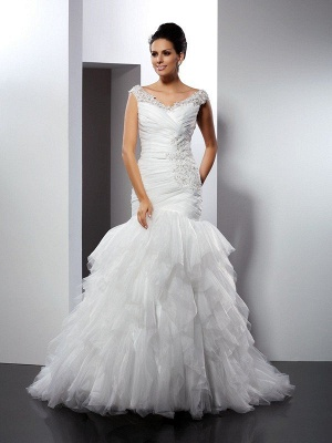 Long Tulle Mermaid V-neck Applique Sleeveless Wedding Dresses
