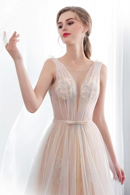 NANETTE   A-line Sleeveless Long Tulle Appliques Champangne Evening Dresses with Sash_4