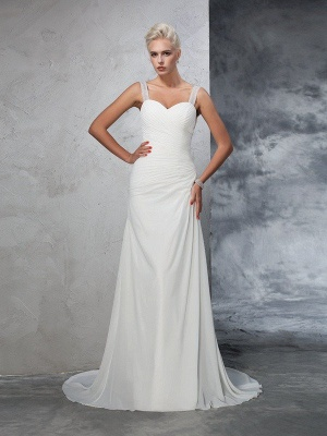 Sleeveless Mermaid Straps Ruched Long Chiffon Wedding Dresses