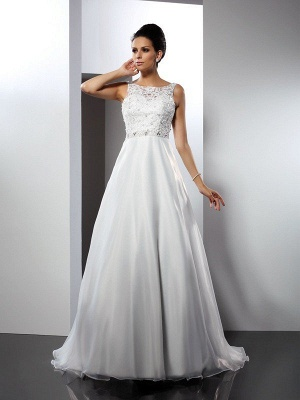 A-Line Scoop Ruffles Sleeveless Long Satin Wedding Dresses