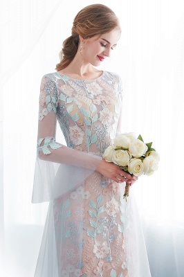 NAOMI | Sheath Long Sleeves Sheer Neckline Appliqued Flowers Evening Dresses_4