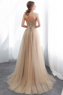 NATHALIE | A-line Strapless Sweetheart Floor Length Appliques Champagne Evening Dresses_3
