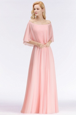 NOAH   A-line Long Off-the-shoulder Pink Bridesmaid Dresses with Sleeves_4