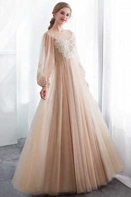 NATALIE   A-line Long Sleeves Appliques Tulle Champagne Evening Dresses_7