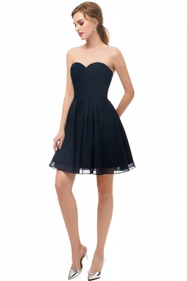 NELLY | A-line Strapless Short Black Chiffon Homecoming Dresses_5