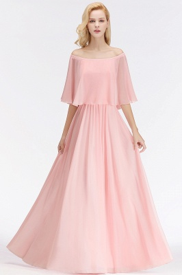 NOAH   A-line Long Off-the-shoulder Pink Bridesmaid Dresses with Sleeves_1