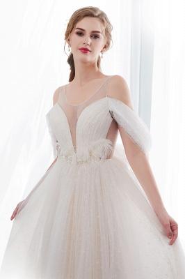 Elegant A-Line Sleeveless Floor Length Ivory Wedding Dresses Cheap_6