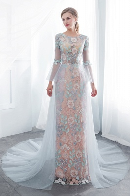 NAOMI | Sheath Long Sleeves Sheer Neckline Appliqued Flowers Evening Dresses_7