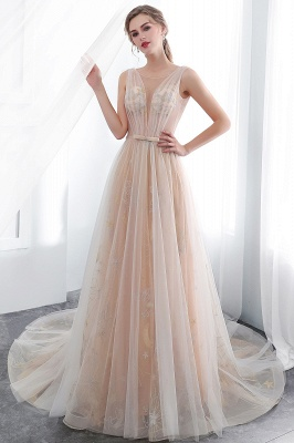 NANETTE   A-line Sleeveless Long Tulle Appliques Champangne Evening Dresses with Sash_5