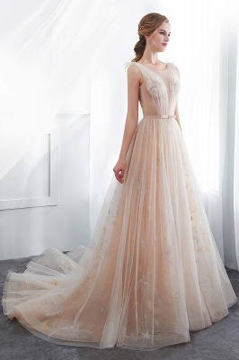NANETTE   A-line Sleeveless Long Tulle Appliques Champangne Evening Dresses with Sash_7