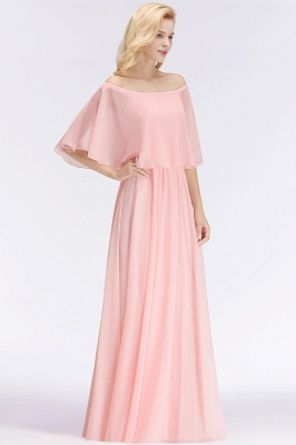 NOAH   A-line Long Off-the-shoulder Pink Bridesmaid Dresses with Sleeves_5