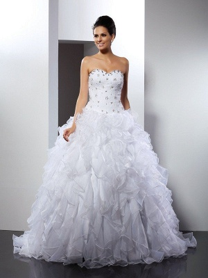 Ball Gown Sleeveless Sweetheart Ruffles Long Satin Wedding Dresses