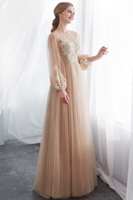 NATALIE   A-line Long Sleeves Appliques Tulle Champagne Evening Dresses_4