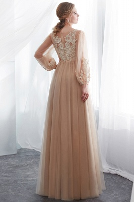 NATALIE   A-line Long Sleeves Appliques Tulle Champagne Evening Dresses_3
