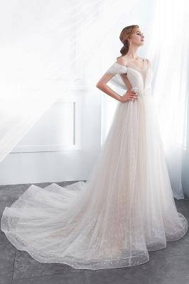Elegant A-Line Sleeveless Floor Length Ivory Wedding Dresses Cheap_3