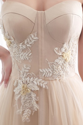 NATHALIE | A-line Strapless Sweetheart Floor Length Appliques Champagne Evening Dresses_12