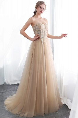 NATHALIE | A-line Strapless Sweetheart Floor Length Appliques Champagne Evening Dresses_5