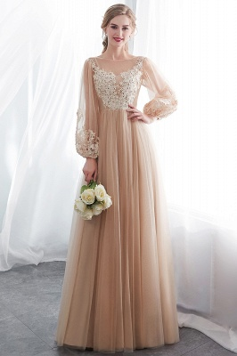 NATALIE   A-line Long Sleeves Appliques Tulle Champagne Evening Dresses_6