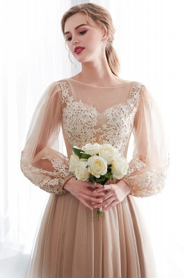 NATALIE   A-line Long Sleeves Appliques Tulle Champagne Evening Dresses_8