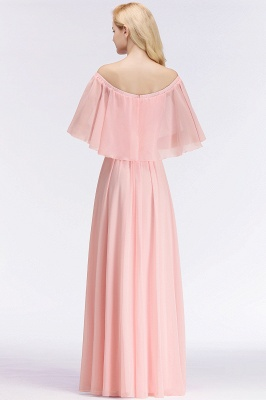 NOAH   A-line Long Off-the-shoulder Pink Bridesmaid Dresses with Sleeves_3