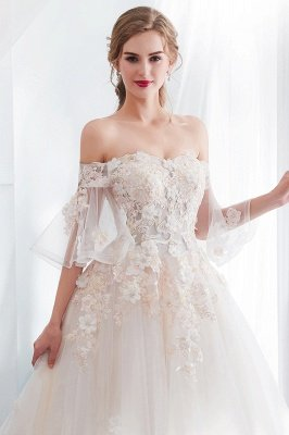 Sexy Off The Shoulder Floor Length Lace Appliques Tulle Ball Gown Wedding Dresses_8