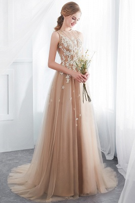 NANNIE | Aline Floor Length Sleeveless Appliqued Tulle Evening Dresses_8