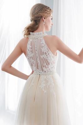 NATALIA | A-line Halter Floor Length Appliqued Tulle Evening Dresses_9