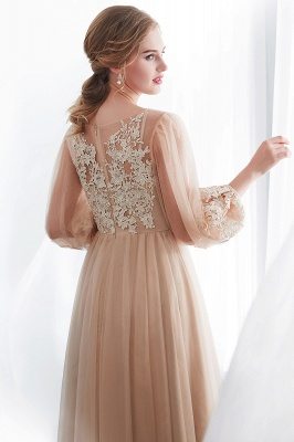 NATALIE   A-line Long Sleeves Appliques Tulle Champagne Evening Dresses_9