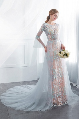 NAOMI | Sheath Long Sleeves Sheer Neckline Appliqued Flowers Evening Dresses_5