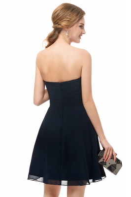 NELLY | A-line Strapless Short Black Chiffon Homecoming Dresses_8