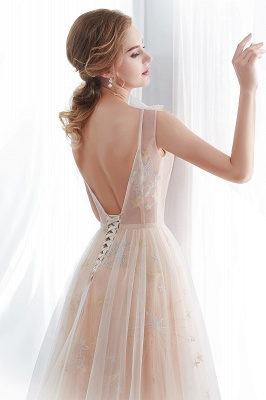 NANETTE   A-line Sleeveless Long Tulle Appliques Champangne Evening Dresses with Sash_8