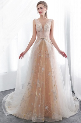 NANETTE   A-line Sleeveless Long Tulle Appliques Champangne Evening Dresses with Sash_6