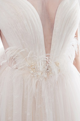 Elegant A-Line Sleeveless Floor Length Ivory Wedding Dresses Cheap_9