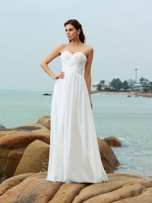 A-Line Sweetheart Sleeveless Beading Long Chiffon Beach Wedding Dresses