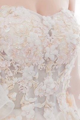 Sexy Off The Shoulder Floor Length Lace Appliques Tulle Ball Gown Wedding Dresses_11