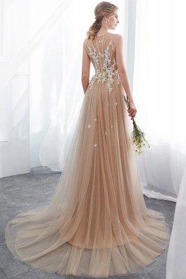 NANNIE | Aline Floor Length Sleeveless Appliqued Tulle Evening Dresses_3