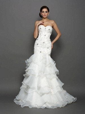 Sweetheart Mermaid Beading Applique Sleeveless Long Organza Wedding Dresses