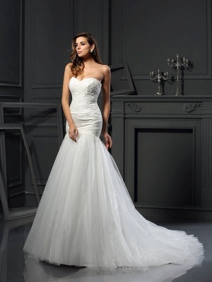Long Mermaid Sleeveless Sweetheart Applique Tulle Wedding Dresses