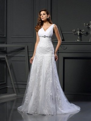 V-neck Sleeveless A-Line Beading Long Tulle Wedding Dresses
