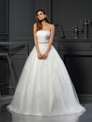 Ball Gown Strapless Applique Long Tulle Wedding Dresses with Sash