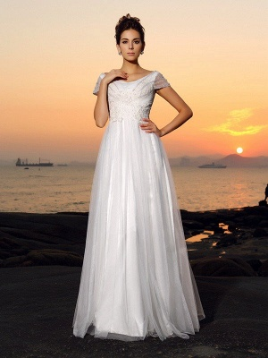 Off-the-Shoulder A-Line Beading Short Sleeves Long Tulle Beach Wedding Dresses