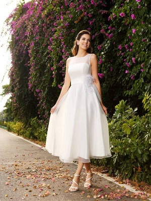 A-Line Bateau Sleeveless Satin Wedding Dresses with Sash