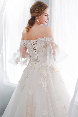 Sexy Off The Shoulder Floor Length Lace Appliques Tulle Ball Gown Wedding Dresses_10